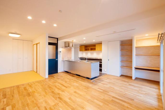 家族と触れ合いながら家事ができるキッチン 広島市東区